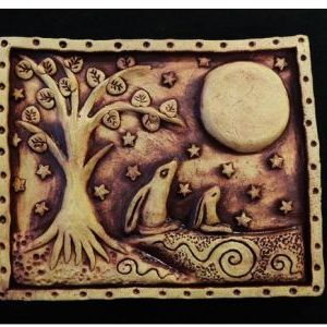 Mother and Baby Moon Gazing Hare Plaque
