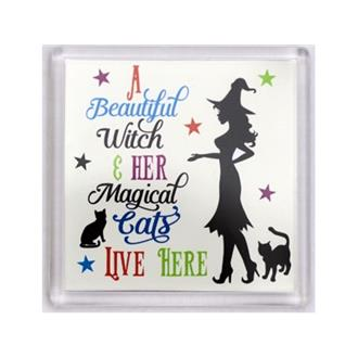 Beautiful Witch and Her Cat Coaster