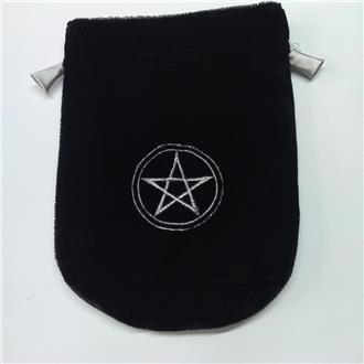 Velveteen Draw String Pouch with Pentagram