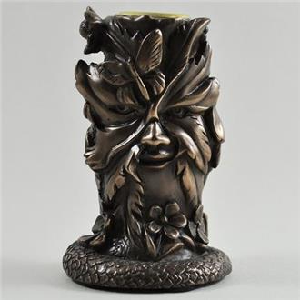 Green Man Bronze Candle Holder