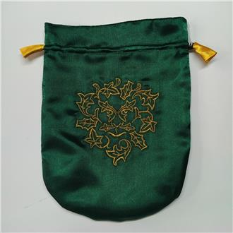 Green Man Satinette Draw String Pouch Large