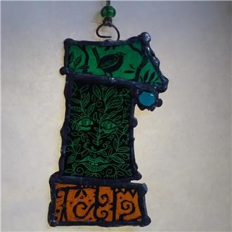 Green Man and Song Bird Stained Glass Panel