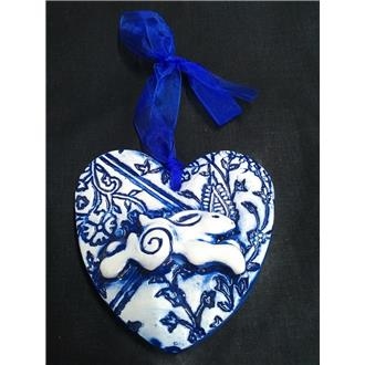 Leaping Hare Heart - Blue