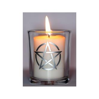 Silver Pentacle Glass Votive Holder