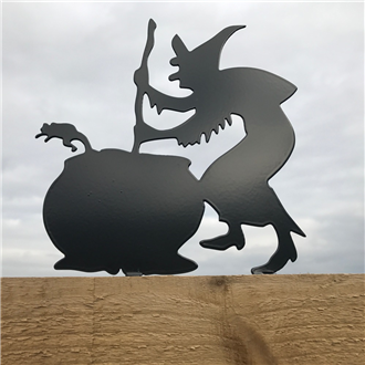 Witch and Cauldron Fence Topper