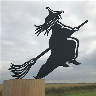 Witch on Broomstick Fence Topper