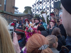 Twelfth Night Mummers - Preparing to Wassail the Globe